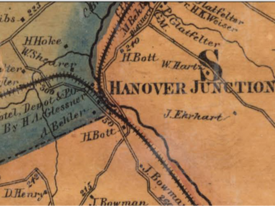 Detail from an 1860 map of York County showing the