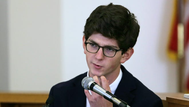 Former St. Paul's School student Owen Labrie testifies during his trial at Merrimack Superior Court in Concord, N.H.