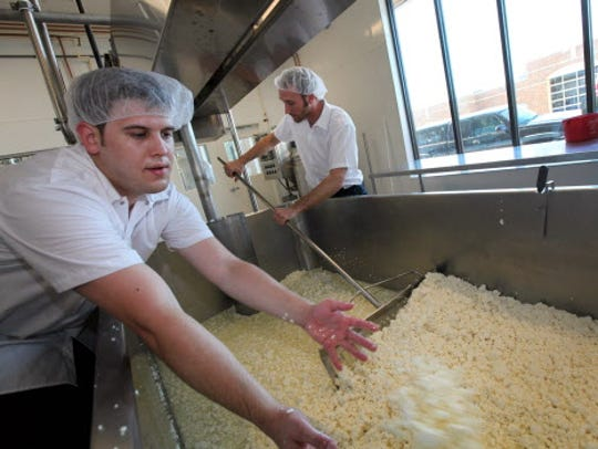 The whey is drained from the cheese curd as cheesemakers