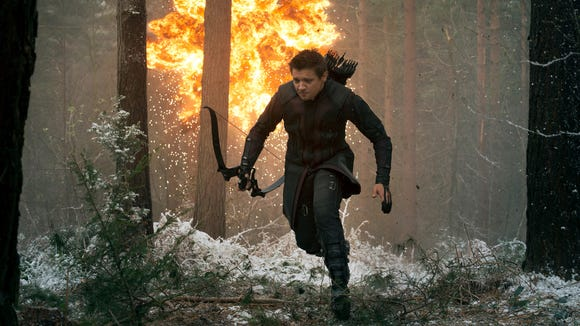 After breaking both arms, Jeremy Renner (seen here