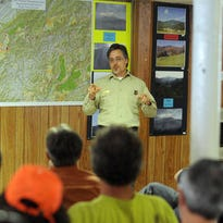 Appalachian District Ranger Matt McCombs spoke to a crowd in November about a draft proposal for management of the Pisgah and Nantahala National Forests. The agency is undergoing a reorganization in North Carolina.