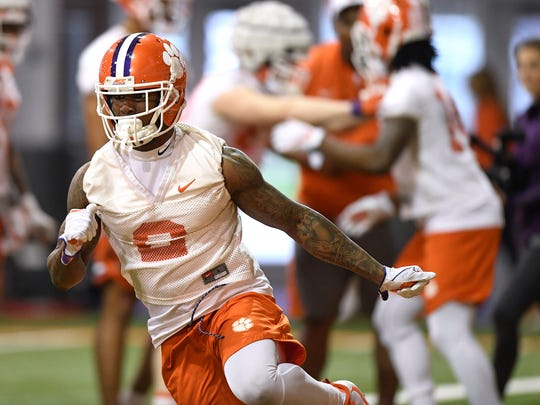 Clemson cornerback Mark Fields (2) during the Tigers opening day of spring practice on Wednesday, February 28, 2018.