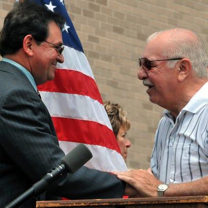 Former Vineland Mayor Anthony Campanella (right) greets