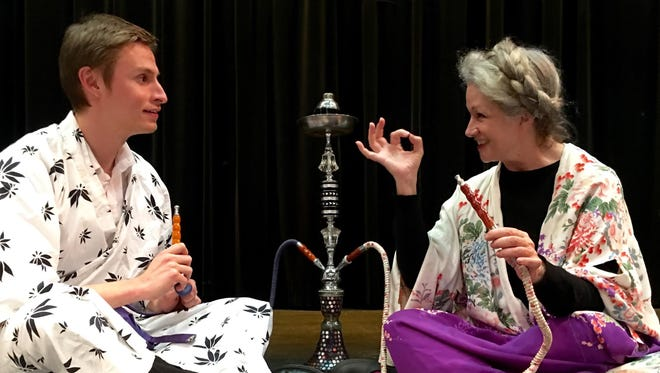 """Michael Jones and Elsie Ritchie rehearse a scene from """"Harold and Maude."""" The dark comedy produced by Axiom Repertory Theatre opens Feb. 8 at Old City Hall."""