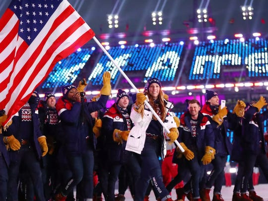 Erin Hamlin leads the delegation from the United States during the opening ceremony for the Pyeongchang 2018 Olympic Winter Games, Feb. 9, 2018.