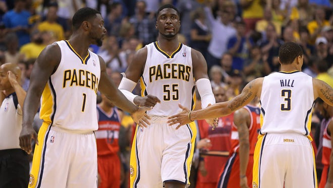 Pacers center Roy Hibbert heads back up court during the second half of action.