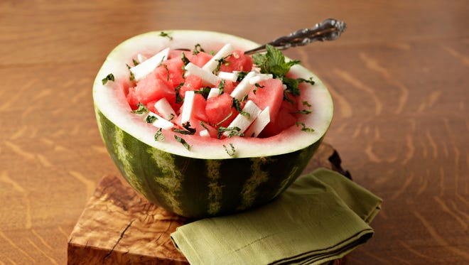 A Mexican salad of watermelon, jicama and mint has just 164 calories a serving.