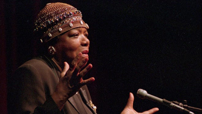 Maya Angelou, here addressing a crowd in Binghamton, died on Wednesday, but leaves behind a rich legacy.