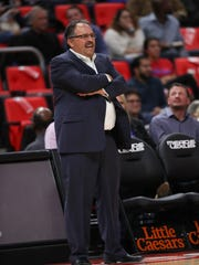 Coach Stan Van Gundy on the bench in the fourth quarter