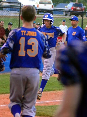 Goodlettsville Little League all-star Zach McWilliams trots to home plate after his fifth-inning home run. McWilliams hit two home runs and pitched 1 2/3 innings of scoreless relief in Goodlettsville's 4-0 victory on Tuesday evening.