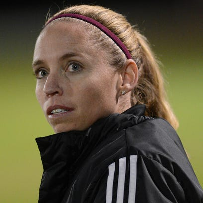Viera girls soccer coach Courtney Lundy watches the