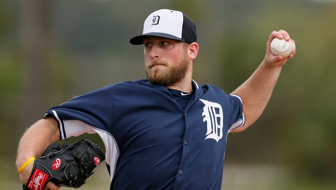 Detroit Tigers reliever Ian Krol throws live batting practice March 1, 2015 in Lakeland.