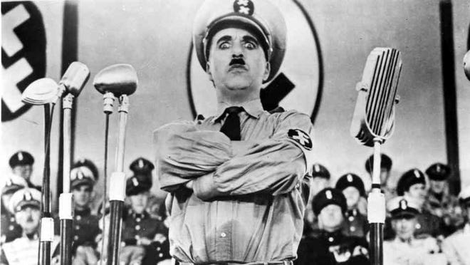 """Charlie Chaplin satirized Adolf Hitler in the 1940 film """"The Great Dictator."""""""