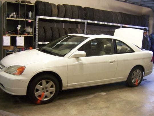A look at the Honda Civic driven by Christina Scroggin where the body of Raul Turrieta was found shot three times in the trunk.