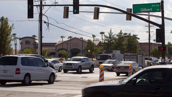 Gilbert intersections had the lowest numbers of crashes, injuries and deaths among Southeast Valley municipalities in 2013. This one at Gilbert and Guadalupe roads is scheduled for a safety makeover.