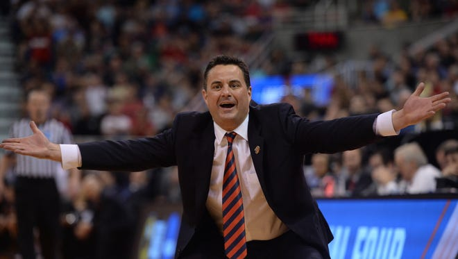 March 18, 2017; Salt Lake City, UT, USA; Arizona Wildcats head coach Sean Miller reacts to officials during game action against the Saint Mary's Gaels during the second half in the second round of the 2017 NCAA Tournament at Vivint Smart Home Arena.