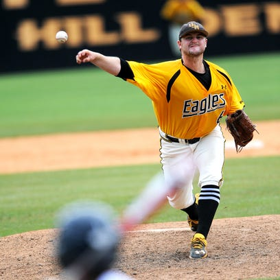 Southern Miss pitcher James McMahon delivers a pitch