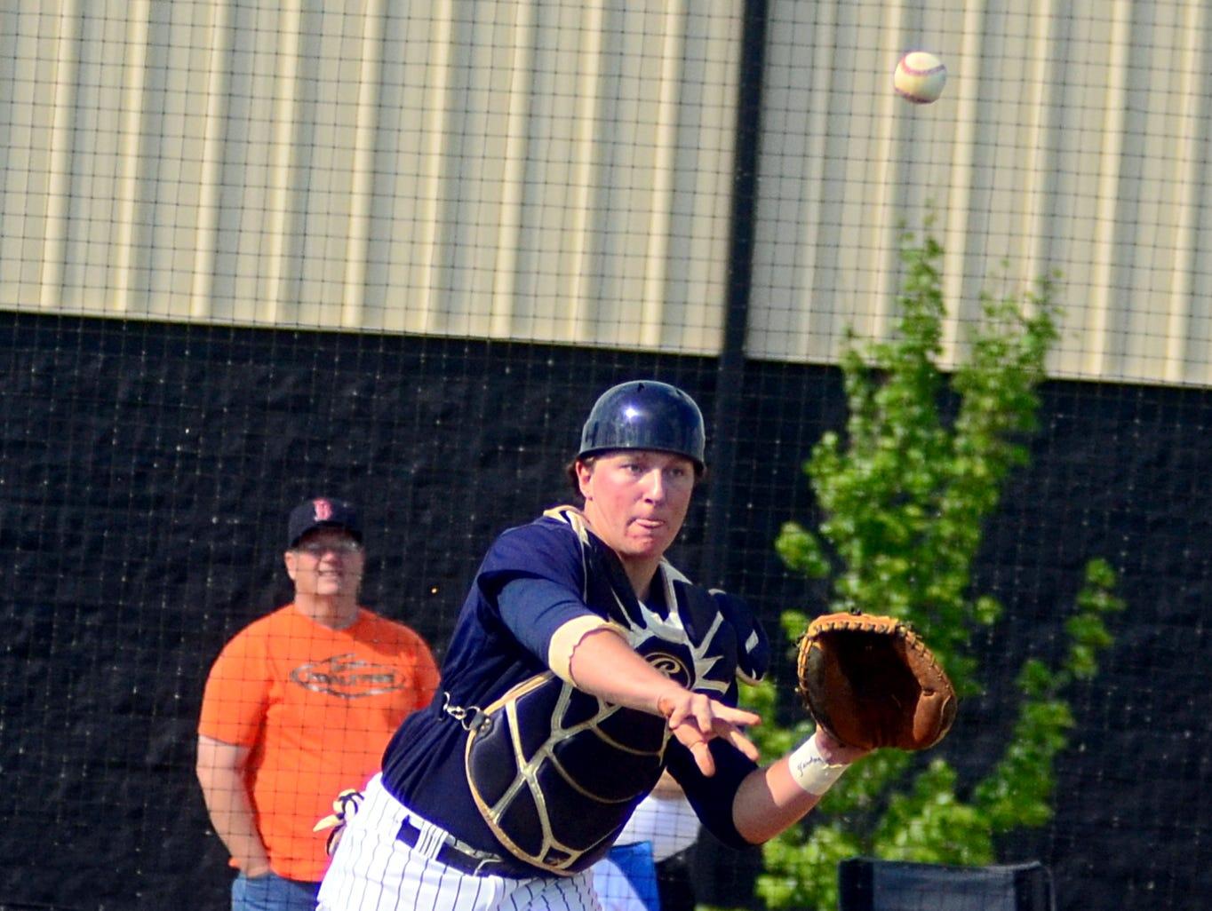 Beech High junior catcher Ryan Mortensen throws to first base during second-inning action. Mortensen singled in the second inning.