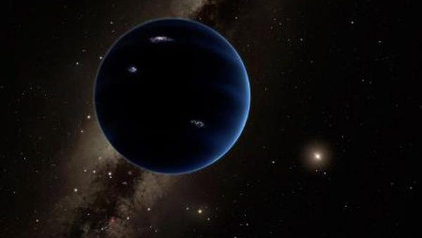 epa05115201 A handout photograph made available by Caltech CATECH on 21 January 2016 showing an artistic rendering of a distant view from Planet Nine back towards the sun. The planet is thought to be gaseous, similar to Uranus and Neptune. Hypothetical lightning lights up the night side. Caltech researchers have found evidence of a giant planet tracing a bizarre, highly elongated orbit in the outer solar system. The object, which the researchers have nicknamed Planet Nine, has a mass about 10 times that of Earth and orbits about 20 times farther from the sun on average than does Neptune (which orbits the sun at an average distance of 2.8 billion miles). - See more at:  EPA/CATECH/R. Hurt (IPAC) MANDATORY CREDIT HANDOUT EDITORIAL USE ONLY/NO SALES