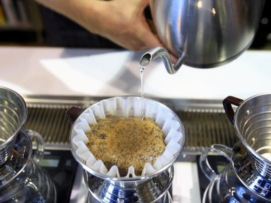 A Brazilian Natural pour over is prepared on Monday,