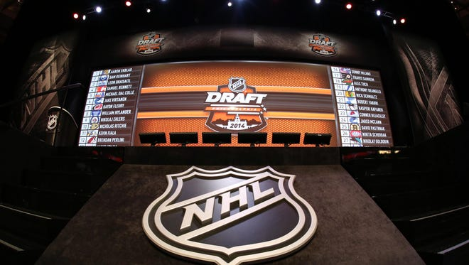 A general view of the NHL draft board in 2014.