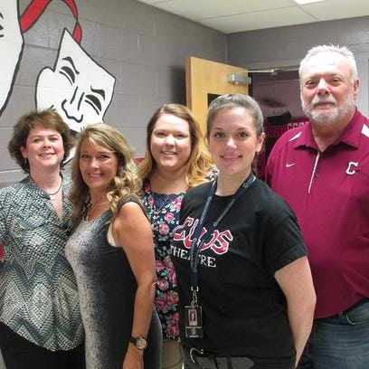 Helping to organize the first-ever steak dinner and auction at Cheatham County Central High School were, from left, Vicki Presson, Kim Caldwell, Susie Kephart, Lauren Street and Jimmy Harden. The inaugural event was held Saturday at the school. The funds raised will directly benefit CCCHS students as the money will provide additional equipment and supplies to enhance their educational experience.