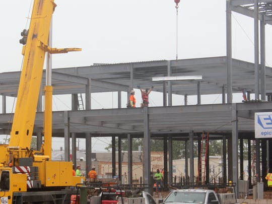 Beam lifted into place at the new Seaman Avenue Elementary School in Perth Amboy.