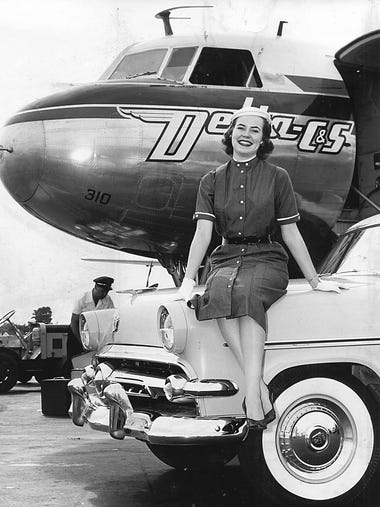 June 17, 1954 - Flying into Memphis on June 17, 1954, from an international goodwill tour, Maid of Cotton Beverly Pack of El Paso, Texas, found a bright present awaiting her - a new Ford Victoria.  A gift from the Memphis District Ford dealers for her service to cotton during her visits to more than 40 cities in the United States, England, France, Germany and Canada.