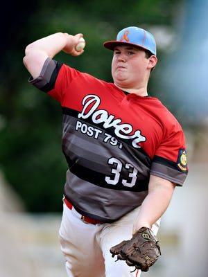 Dover American Legion pitcher Shane Haffner, seen here in a file photo, pitched a two-hit shutout Friday in a 6-0 win over Gettysburg, striking out 15. He also homered. It was his first game back after missing nearly three months because of a back injury.