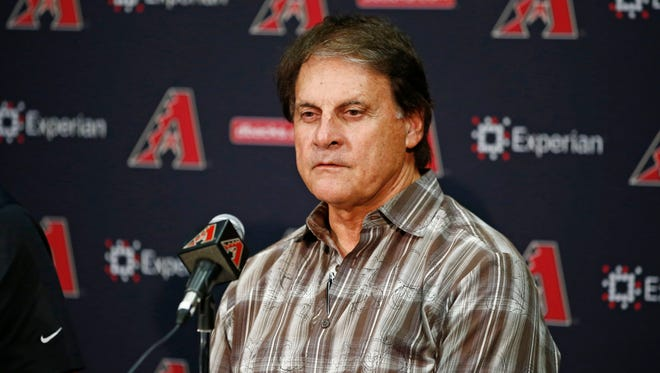 Diamondbacks Chief Baseball Officer Tony La Russa discusses the trade of Martin Prado to the New York Yankees and Gerardo Parra to the Milwaukee Brewers in exchange for two prospects, outfielder Mitch Haniger and left-hander Anthony Banda on Thursday, July 31, 2014 at Chase field in Phoenix.