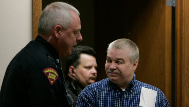 Steven Avery is escorted into the courtroom at the Calumet County Courthouse on Feb. 28, 2007 in Chilton.