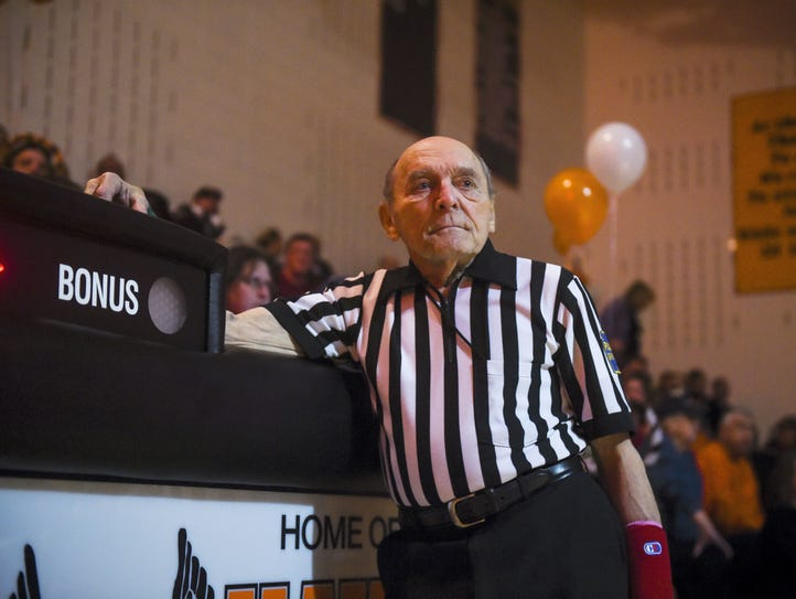 Wrestling referee Ralph Hartlaub waits for the beginning