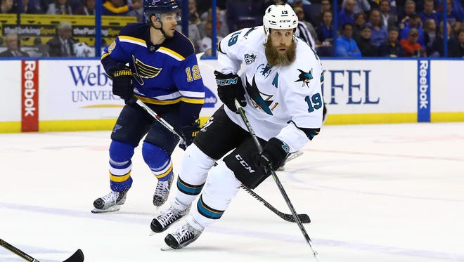 San Jose Sharks center Joe Thornton skates with the puck during the second period in Game 2 of the Western Conference finals.