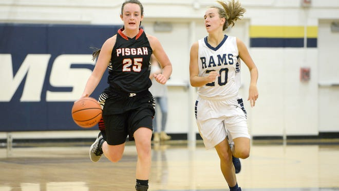 Maddie Webb (25) is one of only two seniors for the Pisgah girls basketball team.