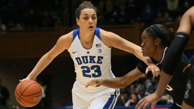 Blue Devils guard Rebecca Greenwell, seen here in a game against  South Carolina Gamecocks at Cameron Indoor Stadium in Dec. 4, scored 18 points and grabbed 10 rebounds in a win over Syracuse on Friday.
