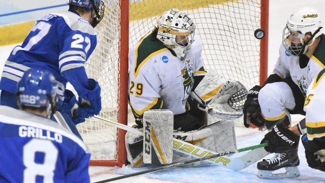 SNC goalie T.J. Black made 39 saves against Colby in an NCAA Division III national semifinal game on Friday in Lake Placid, N.Y.