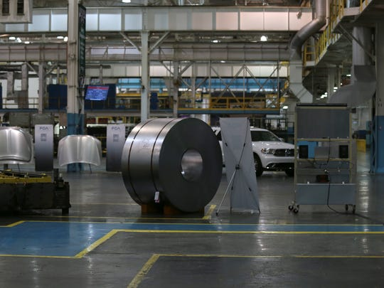 A bolt of steel is what is used in the 3 new presses as part of a $166 million investment to bring the latest state-of-the-art stamping technology to the FCA US Sterling Heights Stamping Plant in Sterling Heights on Friday, August 26, 2016.Jessica J. Trevino