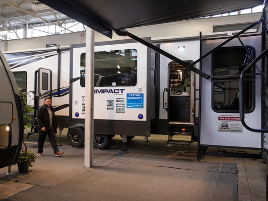 A 2018 Keystone Impact by Fuzion, at the Indy RV Expo, State Fairgrounds, Indianapolis, Sunday, Jan. 7, 2018.