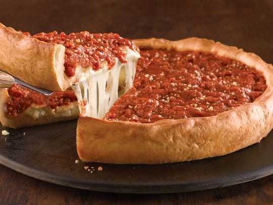 Deep dish pizza at Giordano's.