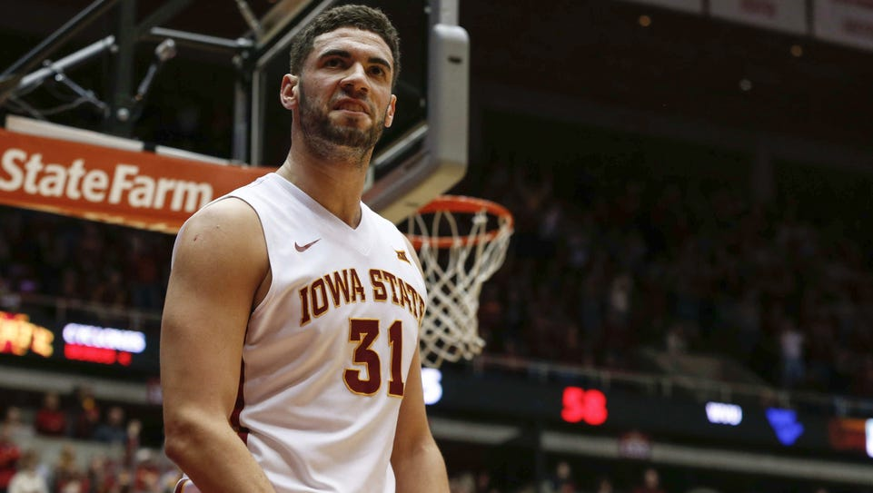 Iowa State senior Georges Niang reacts after drawing