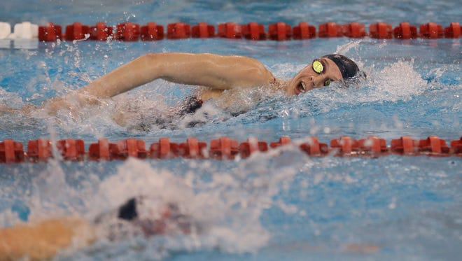 Sacred Heart Academy's Brooke Forde breaks the Region 5 record in the 200 Yard Freestyle with a time of 1:47.68 during the KHSAA Region 5 Championships.Feb. 9, 2017