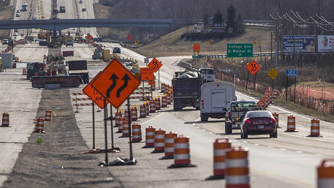 Road construction on Ind. 37 for the I-69 extension is underway as seen looking southward at the Walnut Street and College Avenue exit in Bloomington on Feb. 13.