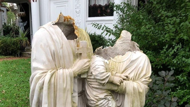 St. Joseph Cupertino Church posted this photo of the vandalized statues.