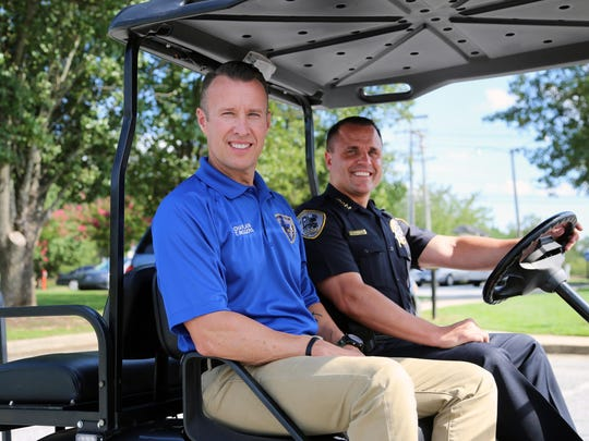 Faith Renewed pastor and volunteer chaplain Terry Rogers and Simpsonville Police Chief Keith Grounsell.