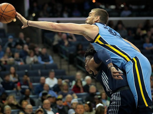 Memphis Grizzlies center Marc Gasol (33) winds up in