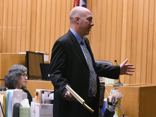 Defense attorney Kit Rodgers during his closing arguments in the second murder trial of Norman Eugene Clark Tuesday, Sep. 19, 2017. Clark is accused of killing his girlfriend, Brittany Eldridge, and their unborn son in Dec 2011. The trial is in Knox County Criminal Court before Judge Steven Sword.