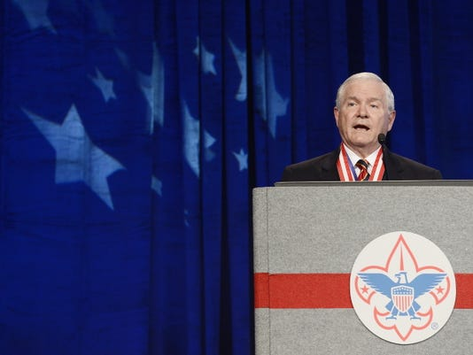Former Defense Secretary Robert Gates addresses the Boy Scouts of America's annual meeting May 23, 2014, in Nashville, Tenn., after being selected as the organization's new president.