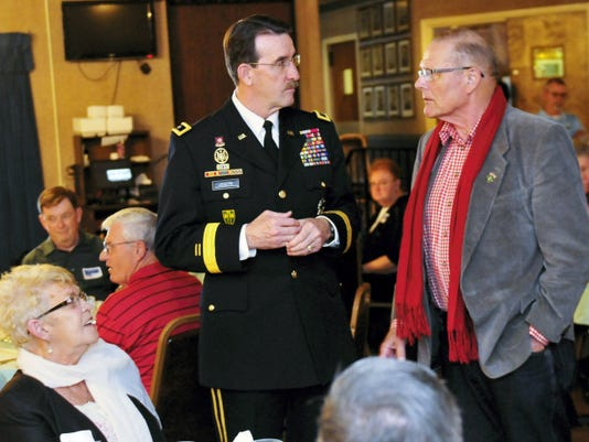 Maj. Gen. James Joseph, left, chats with retired Col. Heinrich Babb on Thursday, during a 50 year Commemoration of the Vietnam War event at the VFW Post 1599, Chambersburg. Maj. Gen. Joseph was the guest speaker.