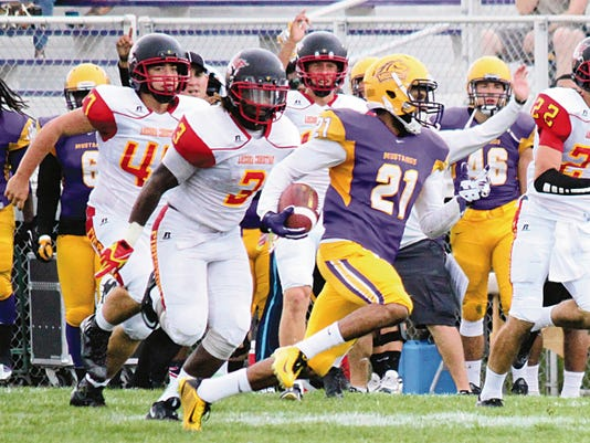 Danny Udero/Sun-News   WNMU punt return expert Rhakeem Holland scampered for 67 yards to paydirt during Saturday's football contest against Arizona Christian.