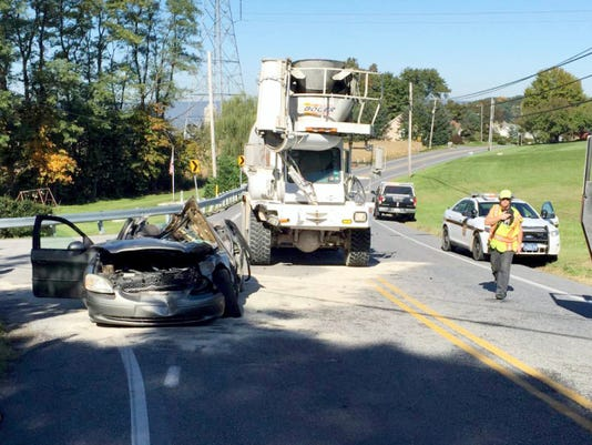 A Ford Taurus was involved in an accident with a Boger Concrete truck on Route 934 at Clear Spring Road, near the former North Annville Township Elementary School, about 10:30 a.m. Monday. The driver of the car, 85-year-old Jack Bixler of Annville, was taken by First Aid & Safety Patrol ambulance to Hershey Medical Center after emergency crews cut off the roof of the vehicle to free him. Bixler was released after treatment, a hospital spokeswoman said. Bellegrove and Annville-Cleona fire companies assisted at the scene, as did area fire police who detoured traffic from the area for about an hour. A state police report was not immediately available to identify the driver of the truck or provide details on the cause of the crash.